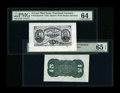 Fractional Currency:Third Issue, Fr. 1272SP 15c Third Issue Wide Margin Pair PMG Choice Uncirculated 64 and 65 EPQ.... (Total: 2 notes)