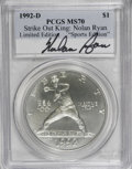 Modern Issues, 1992-D $1 Olympic Silver Dollar, Strike Out King: Nolan Ryan MS70 PCGS. PCGS Population (24/0). Mintage:...