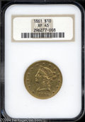Liberty Eagles: , 1861 $10 XF45 NGC. A nicely struck example that has ample ...