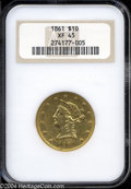 Liberty Eagles: , 1861 $10 XF45 NGC. Rounded hair bun obverse. A richly ...