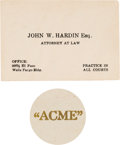 Miscellaneous:Gaming Chips, John Wesley Hardin: An Original Business Card & Poker Chip from the Acme Saloon in El Paso. ... (Total: 2 Items)