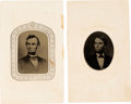 Photography:Tintypes, Abraham Lincoln: Pair of Tintypes on Embossed CDV Mounts.... (Total: 2 Items)