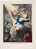 Political:Posters & Broadsides (pre-1896), Abraham Lincoln: Apotheosis Hand-Colored Print. ...