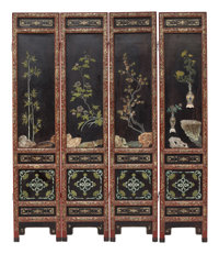A Chinese Lacquer and Inlaid Eight-Panel Screen 86 x 18 inches (218.4 x 45.7 cm) (each, panel)