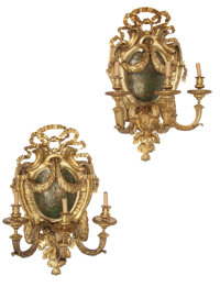 A Pair of French Régence-Style Gilt Bronze Three Light Sconces with Japanned Cartouche 41 x 28 x 19 inches (104.1...