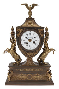A French Empire Patinated and Gilt Bronze Mantle Clock, 19th century 17 x 11 x 5-1/2 inches (43.2 x 27.9 x 14.0 cm