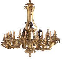 A Pair of French Louis XV-Style Gilt and Patinated Bronze Twenty-Four Light Chandeliers 49 x 50 inches (124.5 x 12... (T...