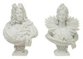Sculpture, A Pair of Monumental Italian Carrara Marble Busts of King Ferdinand V and Queen Isabella of Spain, 19th century. 42 x 28 x 2... (Total: 2 Items)