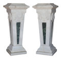 Furniture, A Pair of Large Italian Neoclassical-Style Carrara Marble and Green Variegated Marble Pedestals. 58 x 24 x 24 inches (147.3 ... (Total: 2 Items)