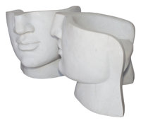 A Pair of Modernist Carrara Marble Face Chairs 28 x 28 x 26 inches (71.1 x 71.1 x 66.0 cm) (each)