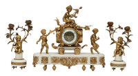 A Three-Piece French Louis XV-Style Gilt Bronze Clock Garniture on Marble Bases, 19th century 16 x 18 x 6-1/2 inch