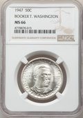 Commemorative Silver, 1947 50C Booker T. Washington PDS Set NGC. This Set Includes: 1947 MS66; 1947-D MS65; and a 1947-S-MS65.... (Total: 3 coins)