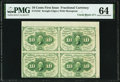 Fractional Currency:First Issue, Fr. 1242 10¢ First Issue Uncut Block of Four PMG Choice Uncirculated 64.. ...