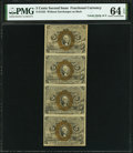 Fr. 1232 5¢ Second Issue Uncut Vertical Strip of Four PMG Choice Uncirculated 64 EPQ