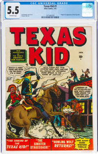 Texas Kid #1 (Atlas, 1951) CGC FN- 5.5 Off-white pages