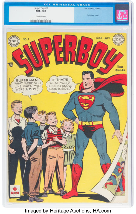 Superboy #1 (DC, 1949) CGC NM- 9.2 Off-white pages....