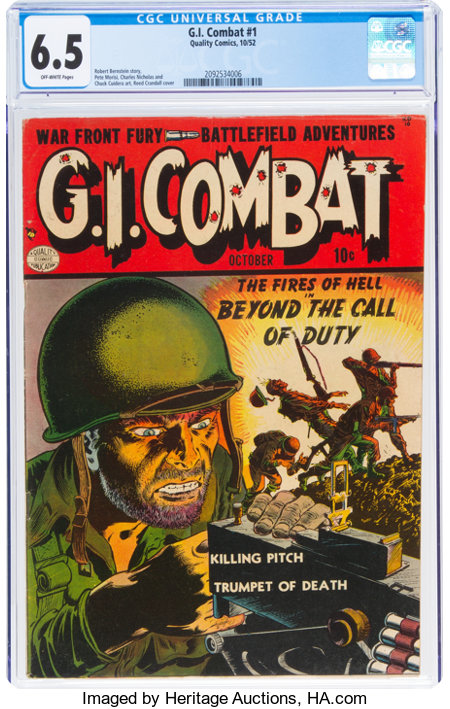 G.I. Combat #1 (Quality, 1952) CGC FN+ 6.5 Off-white pages....