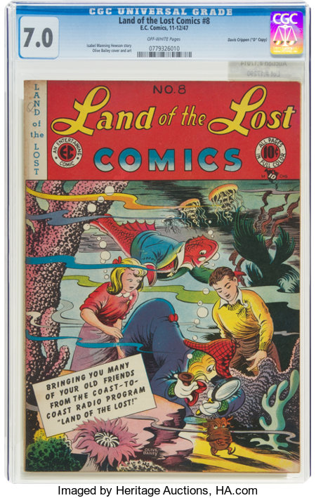 """Land of the Lost Comics #8 Davis Crippen (""""D"""" Copy) Pedigree (EC, 1947) CGC FN/VF 7.0 Off-white pages...."""
