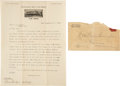 """Autographs:Celebrities, William F. """"Buffalo Bill"""" Cody: Letter to """"Pawnee Bill"""".... (Total: 2 Items)"""