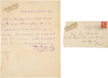 """Autographs:Celebrities, William F. """"Buffalo Bill"""" Cody: Form Letter And Envelope.... (Total: 2 Items)"""
