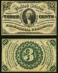 Fractional Currency:Third Issue, Fr. 1227SP 3c Third Issue Narrow Margin Specimen Pair Choice About New.. ... (Total: 2 notes)