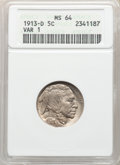 Buffalo Nickels, 1913-D 5C Type One MS64 ANACS. Mintage 5,337,000. ...