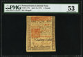 Colonial Notes:Pennsylvania, Pennsylvania April 10, 1775 £5 PMG About Uncirculated 53.. ...