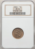 Indian Cents: , 1863 1C MS64 NGC. NGC Census: (677/252). PCGS Population: (1016/390). CDN: $325 Whsle. Bid for NGC/PCGS MS64. Mintage 49,84...