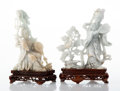 Carvings, Two Chinese Carved Jadeite Figures of Beauties on Carved Fitted Stands. 7-3/4 x 6 x 2-1/2 inches (19.7 x 15.2 x 6.4 cm). ... (Total: 2 Items)