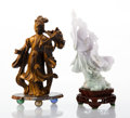 Carvings, Two Chinese Carved Hardstone Figures. 7-1/2 x 3-3/4 inches (19.1 x 9.5 cm) (largest, jadeite). ... (Total: 2 Items)