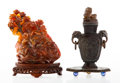 Carvings, Two Chinese Carved Hardstone Figural Groups. 7-1/2 x 6 x 3 inches (19.1 x 15.2 x 7.6 cm) (larger, agate). ... (Total: 2 Items)
