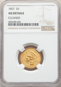Three Dollar Gold Pieces: , 1857 $3 -- Cleaned -- NGC Details. AU. Mintage 20,891. ...