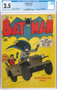 Batman #12 (DC, 1942) CGC GD+ 2.5 Cream to off-white pages