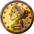 Patterns, 1870 $5 Five Dollar, Judd-1032 Gilt, Pollock-1167, High R.7, PR64 PCGS. CAC....