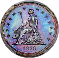 1870 25C Standard Silver Quarter Dollar, Judd-878, Pollock-975, Low R.7, PR68 Red and Brown PCGS....(PCGS# 71122)