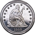 Patterns, 1869 25C Seated Quarter, Judd-740, Pollock-821, High R.7, PR66+ Cameo PCGS. CAC....