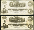 Confederate Notes:1862 Issues, T40 $100 1863 PF-20 Cr. 308 Two Examples Very Fine-Extremely Fine or Better.. ... (Total: 2 notes)