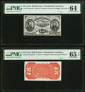 Fractional Currency:Third Issue, Fr. 1274SP/1273-75SP 15¢ Third Issue Narrow Pair PMG Choice Uncirculated 64/Gem Uncirculated 65 EPQ.. ... (Total: 2 notes)