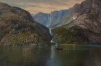 Per Petri (Norwegian, 1869-1953) On a Norwegian Fjord Oil on canvas 21 x 30 inches (53.3 x 76.2
