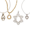 Estate Jewelry:Pendants and Lockets, Diamond, Gold Semi-Mount Pendant-Necklaces. ... (Total: 4 Items)
