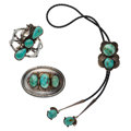 Estate Jewelry:Lots, Turquoise, Leather, Silver Jewelry Lot. ... (Total: 3 Items)