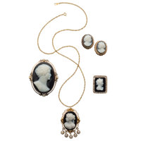 Onyx Cameo, Diamond, Cultured Pearl, Gold Jewelry Lot ... (Total: 4 Items)