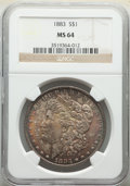 Morgan Dollars: , 1883 $1 MS64 NGC. NGC Census: (10520/5032). PCGS Population: (10128/5969). CDN: $80 Whsle. Bid for NGC/PCGS MS64. Mintage 1...