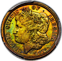 1879 10C Ten Cents, Judd-1587, Pollock-1780, High R.6, PR65 Red and Brown PCGS....(PCGS# 71964)