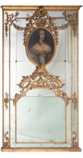 Furniture, A Venetian Baroque-Style Carved Gilt Wood Trumeau Mirror, early 19th century . 95-1/2 x 57 x 4 inches (242.6 x 144.8 x 10.2 ...