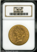 Liberty Double Eagles: , 1907-S $20 MS63 NGC. Coppery-gold patina rests over ...