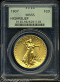 High Relief Double Eagles: , 1907 $20 High Relief, Wire Rim MS65 PCGS. A breathtaking, ...