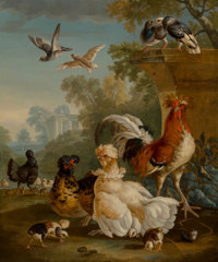 Circle of Peter Casteels (Flemish, 1684-1749) Domestic Fowl Oil on canvas 30 x 25 inches (76.2 x