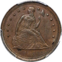 1854 E1C One Cent, Judd-159a, Pollock-186, High R.6, MS62 Brown PCGS....(PCGS# 11654)