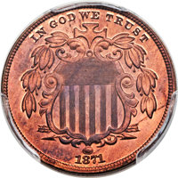1871 5C Shield Nickel, Judd-1056, Pollock-1191, High R.7, PR66+ Red and Brown PCGS. CAC....(PCGS# 71315)
